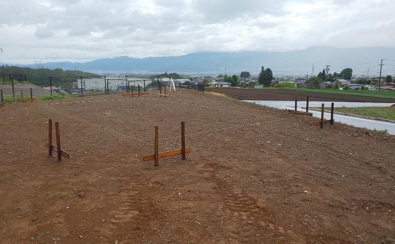 朝日村新築工事『丁張り』